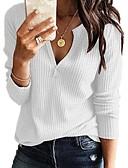 billige Skjorter til damer-Dame Fritid / Grunnleggende Strikking Ensfarget Langermet Pullover Genserjumper, V-hals Vår / Høst Svart / Hvit / Rosa S / M / L