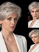 Χαμηλού Κόστους Φορέματα NYE-Ανθρώπινη Τρίχα Περούκα Κοντό Σγουρά Φυσικό Κυματιστό Κούρεμα νεράιδας Με αφέλειες Απλός Sexy Lady Hot Πώληση Χωρίς κάλυμμα Γυναικεία Όλα Ασημί / Περούκα αφροαμερικανικό στυλ / Για μαύρες γυναίκες