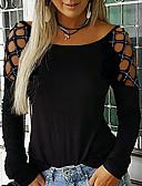 baratos Camisas Femininas-Mulheres Camiseta Sólido Preto