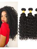 זול מחטים לאיפור קבוע-3 חבילות שיער ברזיאלי Kinky Curly שיער ראמי טווה שיער אדם 8-28 אִינְטשׁ שוזרת שיער אנושי תוספות שיער אדם / 10A / קינקי קרלי