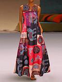 Χαμηλού Κόστους Φορέματα-Γυναικεία Μεγάλα Μεγέθη Φαρδιά Swing Φόρεμα - Γεωμετρικό Μακρύ Βαθύ V