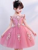 billige Blomsterpikekjoler-Prinsesse Knelang Blomsterpikekjole - Polyester / Tyll Kortermet Løse skuldre med Appliqué