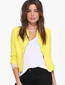 ราคาถูก เสื้อแจ็กเก็ตสำหรับผู้หญิง-สำหรับผู้หญิง เสื้อคลุมสุภาพ, สีพื้น คอวี เส้นใยสังเคราะห์ ขาว / สีดำ / สีเหลือง