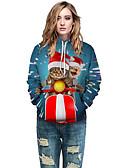 Χαμηλού Κόστους Γυναικείες Μπλούζες με Κουκούλα & Φούτερ-Γυναικεία Καθημερινό / Χριστούγεννα Λεπτό Φούτερ με Κουκούλα - 3D