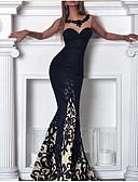 baratos Vestidos de Mulher-Mulheres Sensual Elegante Renda Tubinho Vestido - Renda Com Transparência, Floral Côr Sólida Longo