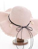 ราคาถูก หมวกสตรี-สำหรับผู้หญิง ทุกเพศ สีพื้น Straw พื้นฐาน-หมวกสาน ผ้าขนสัตว์สีธรรมชาติ สีน้ำเงินกรมท่า สีน้ำตาลอ่อน