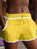 זול מכנסיים לנשים-בגדי ריקוד נשים בסיסי שורטים מכנסיים - אחיד פרנזים פשתן זהב לבן שחור M L XL