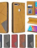 baratos Capinhas para Huawei-Capinha Para Huawei Honra 10 Lite / Honra 10i / Huawei Honor 8A Carteira / Porta-Cartão / Antichoque Capa Proteção Completa Sólido / Estampa Geométrica PU Leather