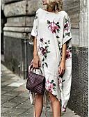 ราคาถูก ชุดเดรสพิมพ์ลาย-สำหรับผู้หญิง รูปตัว เอ แต่งตัว ลายดอกไม้ midi