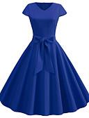 baratos Vestidos Vintage-Mulheres Vintage Moda de Rua balanço Vestido - Patchwork, Sólido Decote V Médio