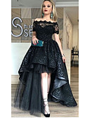 Χαμηλού Κόστους Φορέματα κοκτέιλ-Γραμμή Α Ώμοι Έξω Ασύμμετρο Δαντέλα / Τούλι Κομψό Επίσημο Βραδινό Φόρεμα 2020 με Εισαγωγή δαντέλας