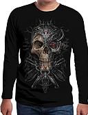 Χαμηλού Κόστους Ανδρικά μπλουζάκια και φανελάκια-Ανδρικά Μέγεθος EU / US T-shirt Συνδυασμός Χρωμάτων / 3D / Νεκροκεφαλές Στρογγυλή Λαιμόκοψη Στάμπα Μαύρο / Μακρυμάνικο