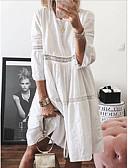 billige Kjoler med trykk-Dame Skiftet Kjole - Ensfarget Knelang
