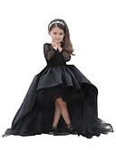 זול שמלות לילדות פרחים-גזרת A א-סימטרי שמלה לנערת הפרחים  - טפטה / טול שרוול ארוך עם תכשיטים עם קריסטלים / אבנים נוצצות על ידי LAN TING Express