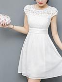 ราคาถูก ชุดเดรสลูกไม้สุดโรแมนติก-สำหรับผู้หญิง พื้นฐาน ปลอก แต่งตัว สีพื้น ยาวถึงเข่า