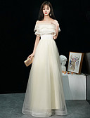 ราคาถูก Special Occasion Dresses-A-line ไหล่ตก ลากพื้น ลูกไม้ / Tulle สะท้อนแสง ทางการ แต่งตัว กับ ระบาย Cascading โดย LAN TING Express