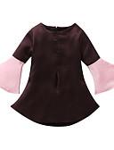 Χαμηλού Κόστους Φορέματα για κορίτσια-Παιδιά Νήπιο Κοριτσίστικα Βίντατζ Βασικό Μονόχρωμο Patchwork Μακρυμάνικο Πάνω από το Γόνατο Φόρεμα Καφέ / Βαμβάκι