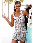 baratos Vestidos de Mulher-Mulheres Boho Camiseta Vestido - Cordões Estampado, Geométrica Acima do Joelho