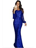 billiga Aftonklänningar-Trumpet / sjöjungfru Prydd med juveler Svepsläp Paljetter Elegant & Lyxig / Glitter och glans Formell kväll Klänning 2020 med
