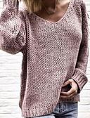 billige Gensere til damer-Dame Ensfarget Langermet Pullover Genserjumper, V-hals Rosa / Gul / Blå S / M / L