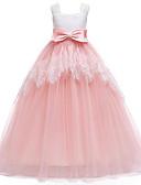 Χαμηλού Κόστους Λουλουδάτα φορέματα για κορίτσια-Γραμμή Α Μακρύ Φόρεμα για Κοριτσάκι Λουλουδιών - Πολυεστέρας / Τούλι Αμάνικο Τετράγωνη Λαιμόκοψη με Φιόγκος(οι) / Σχέδιο / Στάμπα
