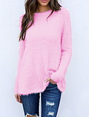 cheap Women's Sweaters-Women's Solid Colored Long Sleeve Cardigan Sweater Jumper, Round Neck Black / White / Blushing Pink S / M / L