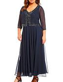povoljno Večernje haljine-A-kroj V izrez Do gležnja Šifon Haljina za majku mladenke s Perlica po LAN TING Express / Wrap Included