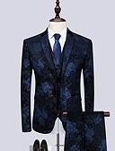 billige Aftenkjoler-Burgunder / Mørk Marineblå Mønstret Skreddersydd Bomull Dress - Med hakk Enkelt Brystet To-knapp / drakter