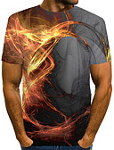 Χαμηλού Κόστους Ανδρικά μπλουζάκια και φανελάκια-Ανδρικά Μεγάλα Μεγέθη T-shirt 3D Στρογγυλή Λαιμόκοψη Patchwork Κίτρινο / Κοντομάνικο