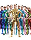 povoljno Zentai odijela-Sjajna zentai odijela Odijelo za kožu Ninja Odrasli Spandex Lateks Cosplay Nošnje Spol Muškarci Žene Crn / Zlatan / purpurna boja Jednobojni Halloween / Visoka elastičnost