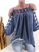 ราคาถูก เสื้อเอวลอยสำหรับผู้หญิง-สำหรับผู้หญิง เสื้อสตรี ลูกไม้ ไร้สาย หลวม สีพื้น สีดำ