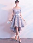 Χαμηλού Κόστους Φορέματα κοκτέιλ-Γραμμή Α Ώμοι Έξω Ασύμμετρο Δαντέλα Φανταχτερό / Κομψό Κοκτέιλ Πάρτι / Αργίες Φόρεμα 2020 με Ζώνη / Κορδέλα