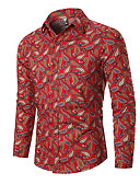 """זול חולצות לגברים-גראפי בסיסי האיחוד האירופי / ארה""""ב גודל חולצה - בגדי ריקוד גברים דפוס שחור / שרוול ארוך"""