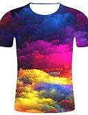 billige T-skjorter og singleter til herrer-Tynn Rund hals EU / USA størrelse T-skjorte Herre - 3D, Trykt mønster Regnbue / Kortermet