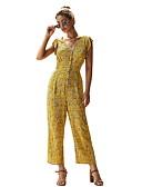 ราคาถูก จั๊มสูทและเสื้อคลุมสำหรับผู้หญิง-สำหรับผู้หญิง พื้นฐาน คอวีลึก สีเหลือง สีน้ำเงิน ทับทิม เพรียวบาง ชุด Jumpsuits Onesie, ลายดอกไม้ ลายพิมพ์ S M L