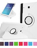 baratos Cases & Capas-Capinha Para Samsung Galaxy Tab E 9.6 Porta-Cartão / Antichoque Capa Proteção Completa Sólido Rígida PU Leather