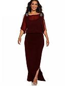 ราคาถูก เดรสพลัสไซซ์-สำหรับผู้หญิง พื้นฐาน ปลอก แต่งตัว สีพื้น ขนาดใหญ่