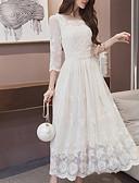 Χαμηλού Κόστους Γυναικεία Φορέματα-Γυναικεία Φαρδιά Φόρεμα - Μονόχρωμο Μακρύ Άσπρο