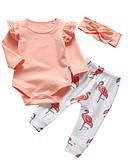 povoljno Kompletići za bebe-Dijete Djevojčice Ležerne prilike / Aktivan Jednobojni / Print Print Dugih rukava Duga Komplet odjeće žuta
