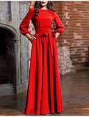 olcso Maxi ruhák-Női Alap Hüvely Ruha - Csokor Fűzős, Egyszínű Maxi