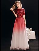 povoljno Maturalne haljine-A-kroj Ovalni izrez Do poda Saten / Til / Sa šljokicama Sjaji i svijetli Prom Haljina s po LAN TING Express