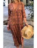 baratos Vestidos Longos-Mulheres Moda de Rua Reto Vestido - Estampado, Geométrica Decote em V Profundo Longo / Solto