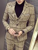 billige Smokings-Svart / Gul / Blå Mønstret Standard Polyester Dress - Med hakk Enkelt Brystet Enn-knapp / drakter