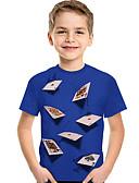 billiga Slipsar och flugor-Barn Småbarn Pojkar Aktiv Grundläggande Geometrisk Tryck Färgblock Tryck Kortärmad T-shirt Svart