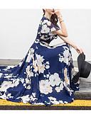 ราคาถูก ชุดเดรสพิมพ์ลาย-สำหรับผู้หญิง ขนาดพิเศษ ฮอลิเดย์ ชายหาด ชีฟอง สวิง แต่งตัว - ลายพิมพ์, ลายดอกไม้ midi คอวี