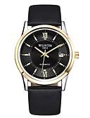 זול שעונים מכאניים-בגדי ריקוד גברים שעון מכני קווארץ עור אמיתי לוח שנה זוהר בחושך אנלוגי מינימליסטי - שחור חום / מתכת אל חלד