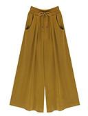 ราคาถูก กางเกงผู้หญิง-สำหรับผู้หญิง Street Chic ขนาดพิเศษ หลวม ขากว้าง กางเกง - สีพื้น Black ฝ้าย ใบไม้สีเขียวที่มีสามแฉก สีดำ สีเหลือง XXXL XXXXL XXXXXL