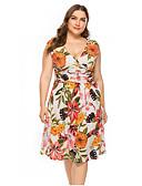 Χαμηλού Κόστους Print Dresses-Γυναικεία Γραμμή Α Φόρεμα - Φλοράλ, Στάμπα Μίντι