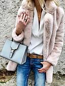 povoljno Ženske kaputi od kože i umjetne kože-Žene Dnevno Osnovni Jesen zima Veći konfekcijski brojevi Normalne dužine Faux Fur Coat, Jednobojni Kragna košulje Dugih rukava Umjetno krzno Svijetlosiva / Obala / Blushing Pink