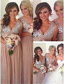 זול שמלות נשף-גזרת A צווארון V עד הריצפה שיפון / סאטן ערב רישמי שמלה עם חרוזים / נצנצים על ידי LAN TING Express
